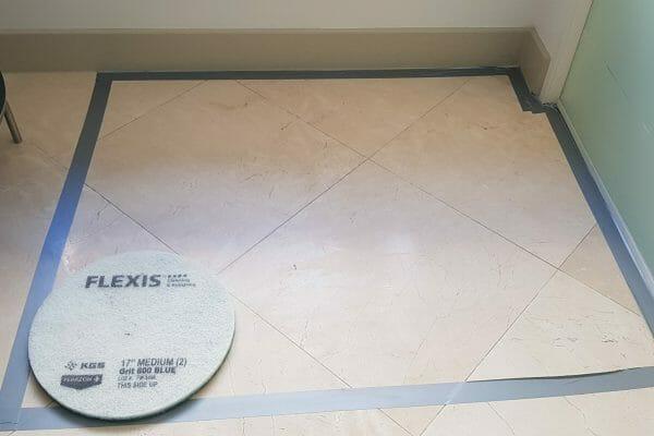 marble floor before restoration clean