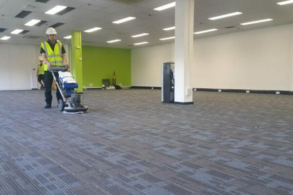 600m2 carpet clean after refurbishment works. Marks & Spencer NDC, Hatfield