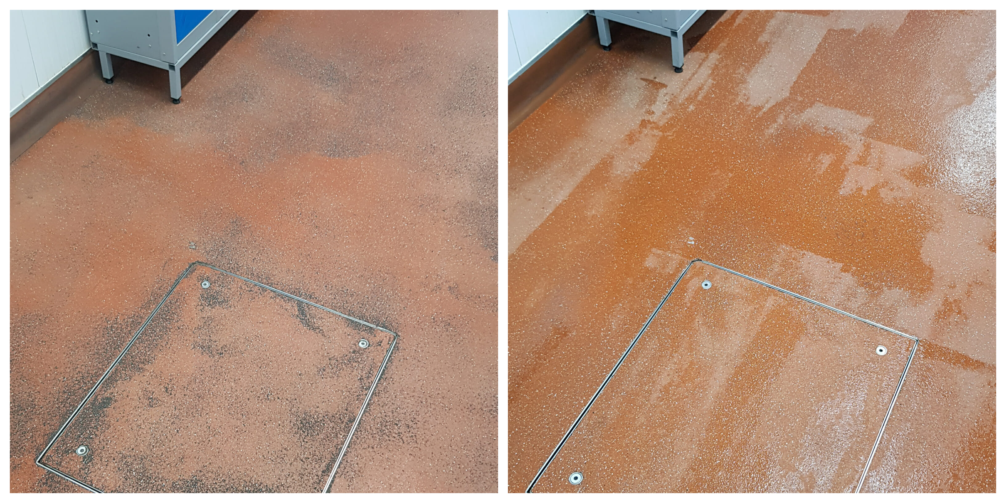 Cp Foods floor cleaning before and after