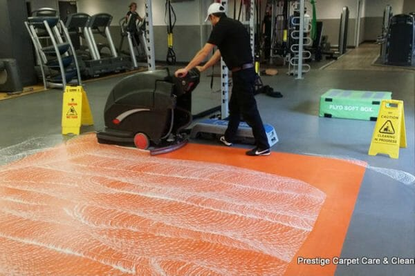 Gym floor restoration clean. Fitness First St Albans