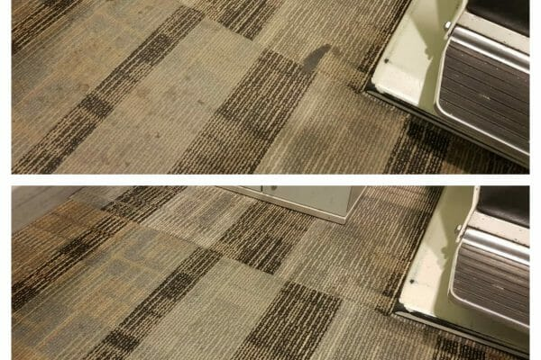 Cleaning carpets safely around water sensitive equipment. Specsavers, London