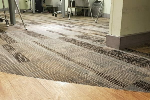 Chwing gum removal from Specsavers shop carpet. Peckham, London